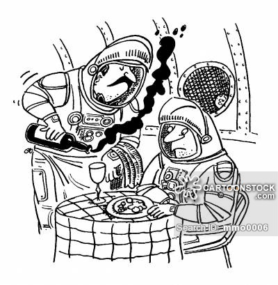 Spaceman waiter losing all his wine in the zero gravity